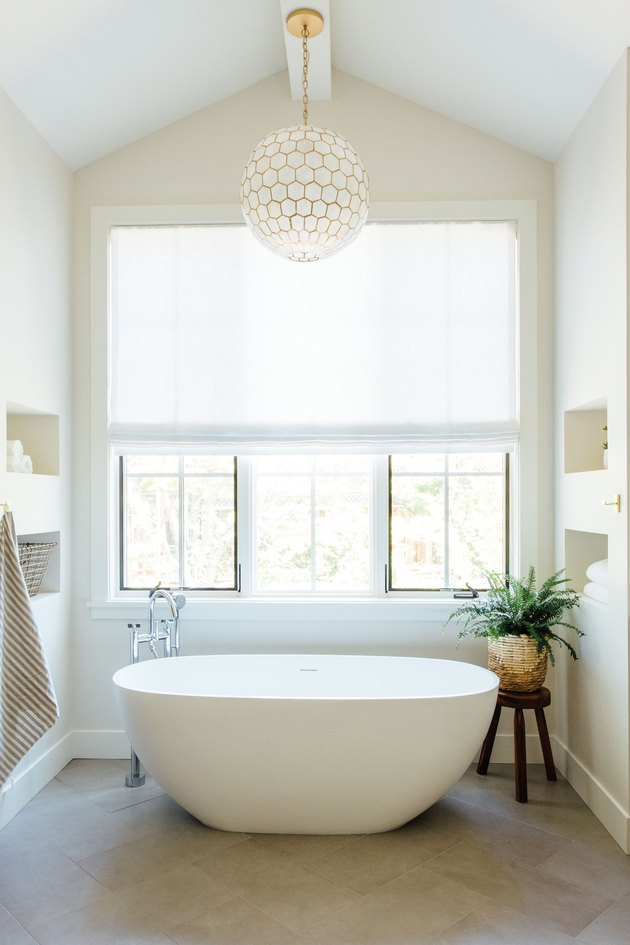 Contemporary Window Treatments Sheer white shades in a master bathroom designed by Michelle Lisac Interior Design