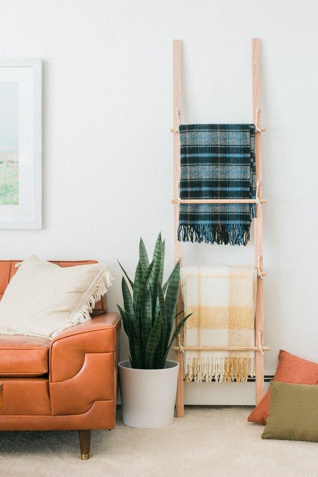 Organisez vos couvertures de jet préférées avec ce porte-échelle incliné.