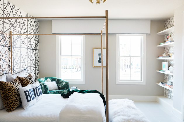 White Valance Contemporary window treatments in a bedroom designed by Studio Ten 25