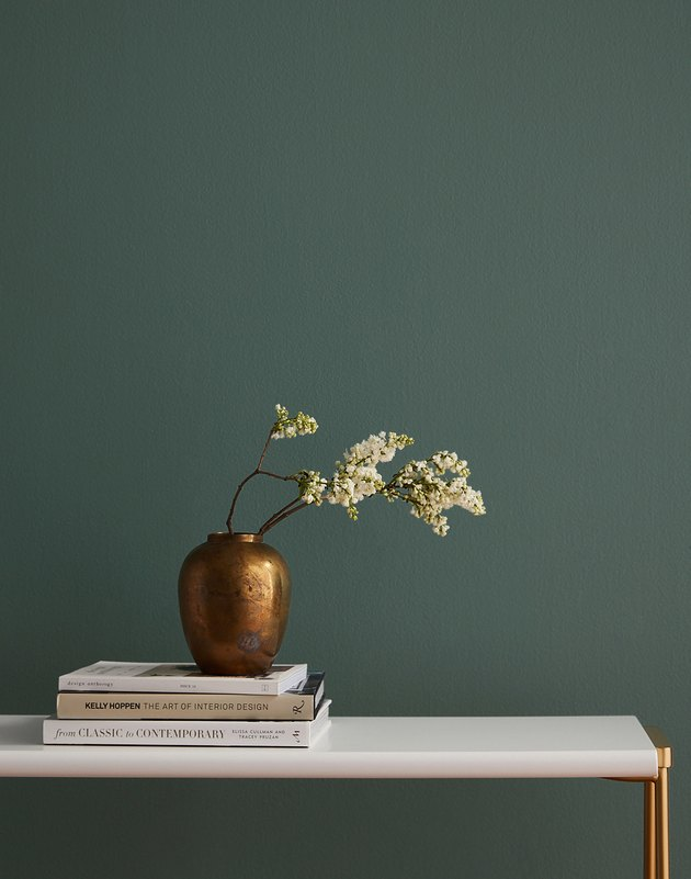 green wall with vase and plant