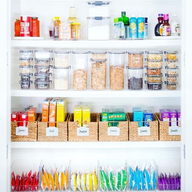 organized small pantry closet divided into categories