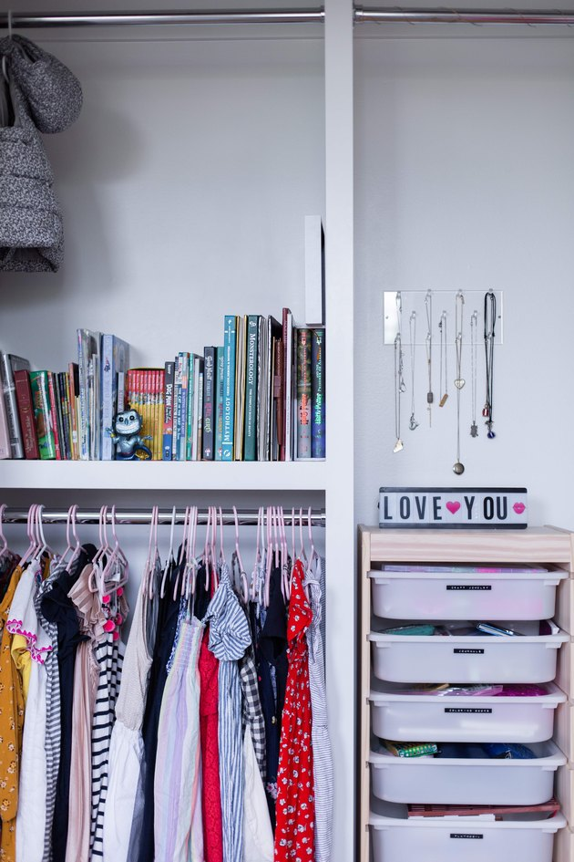 Organized closet in Meakins home