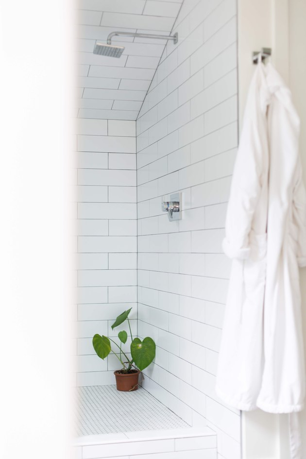White tile shower in Meakins home