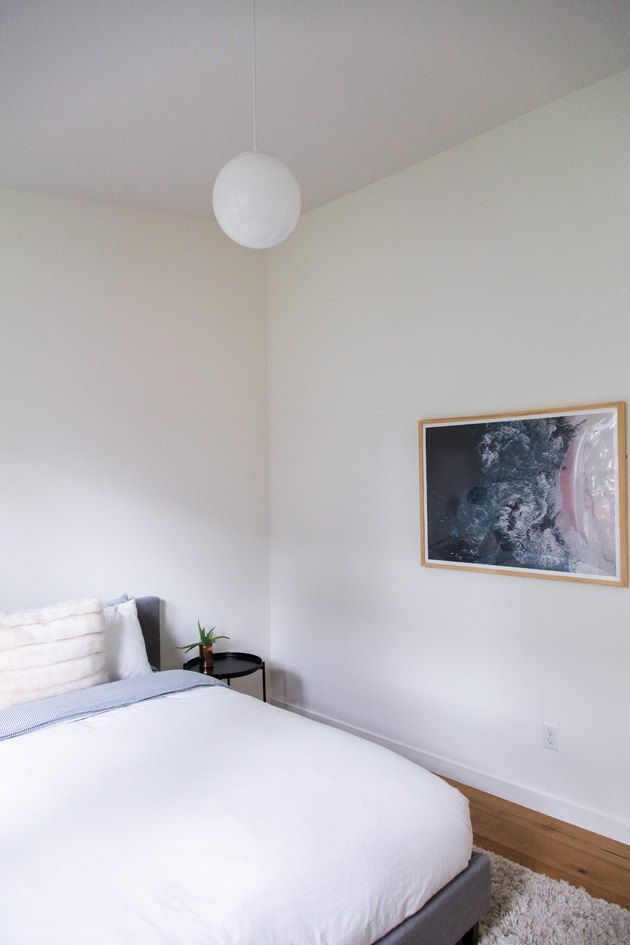 Minimalist bedroom in Meakins home
