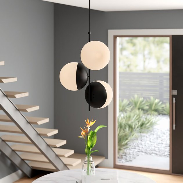 Globe style black and white contemporary dining room lighting