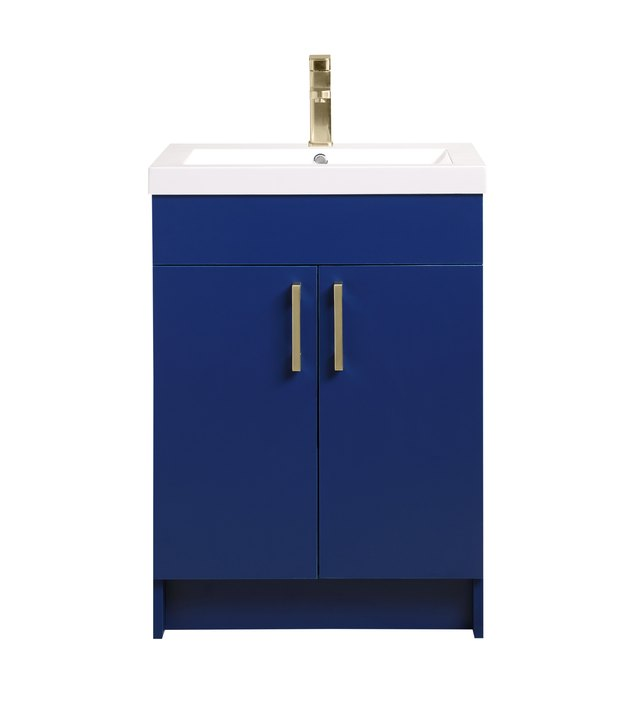 Mainstays Farmhouse 24.4 Inch Navy Single Sink Bathroom Vanity