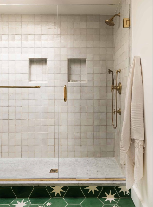 contemporary shower with zellige tiles in neutral color