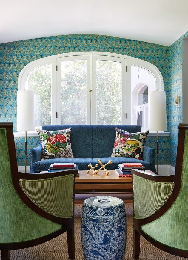 living room wallpaper idea with asian-inspired teal print
