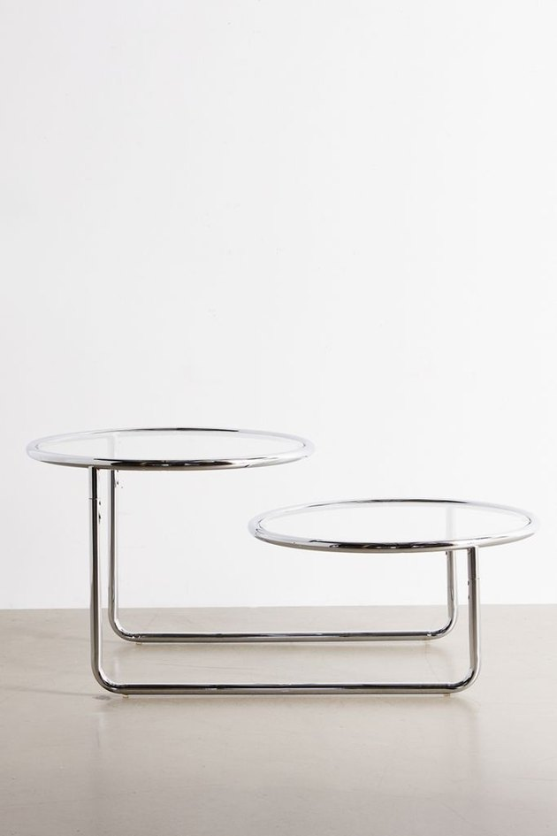 silver two-tier coffee table