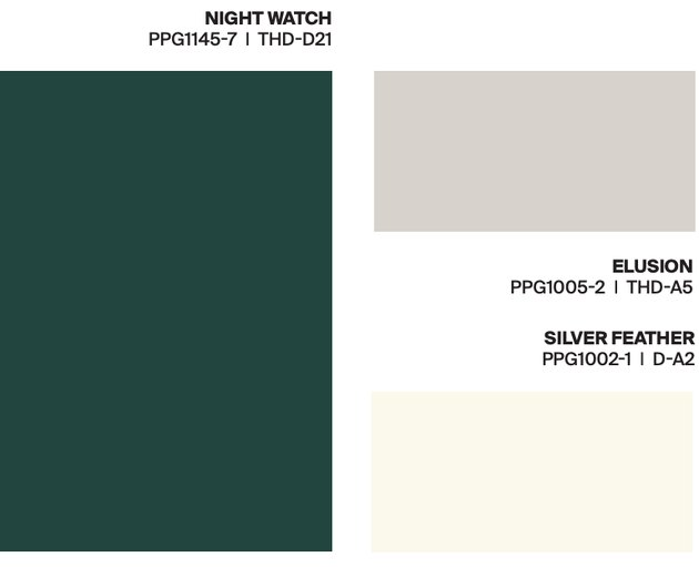green, gray, white paint swatches