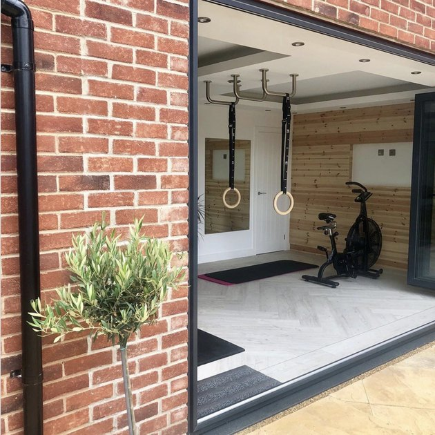 Small Garage Ideas with an At-home gym in a former garage