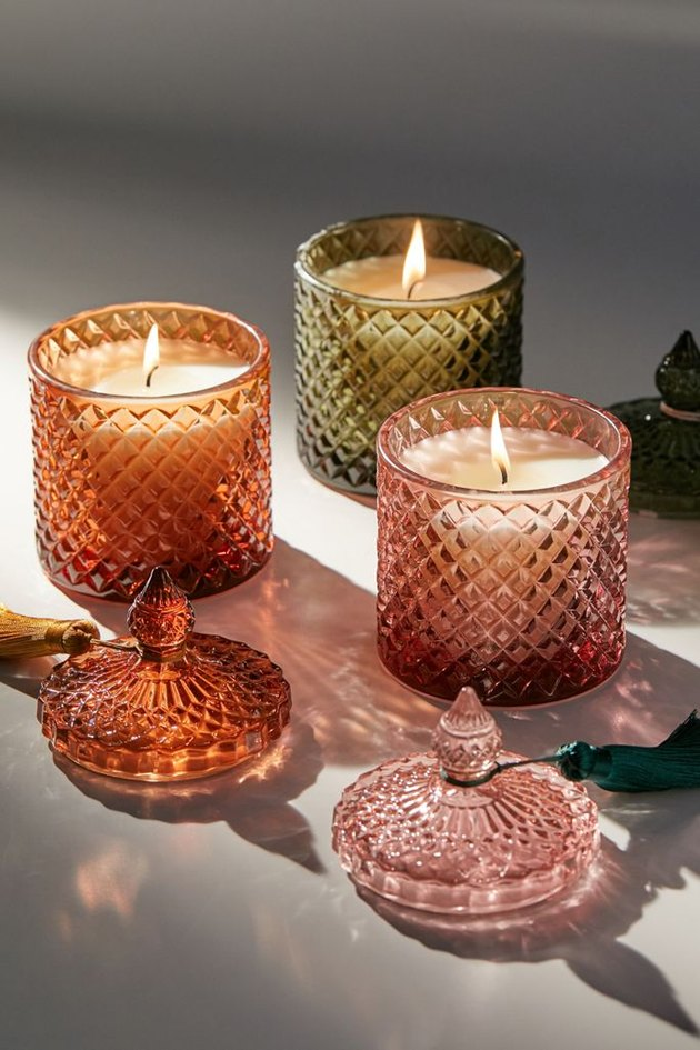 textured glass candles with tassels