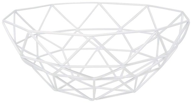 White geometric wire fruit basket