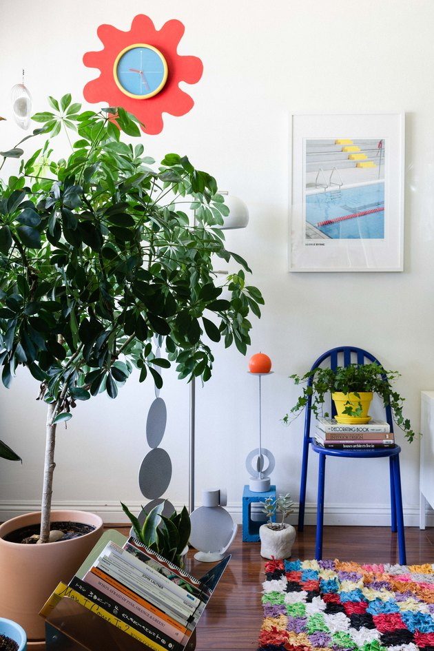Colorful decor with tall tree plant
