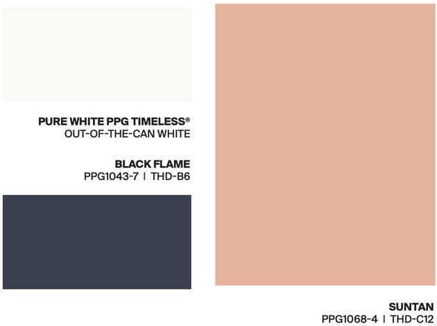white, salmon, blue-gray paint swatches