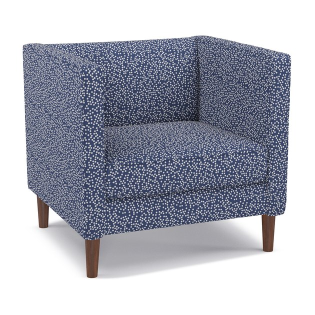 navy and white dotted club chair