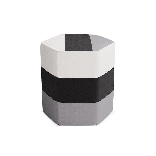 black, white, gray ottoman