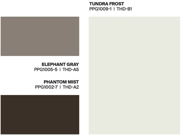 white and two gray paint swatches