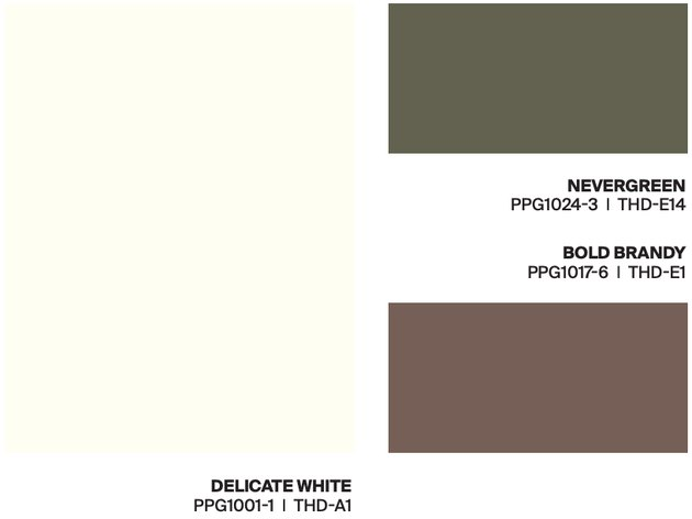 white, green, brown paint swatches