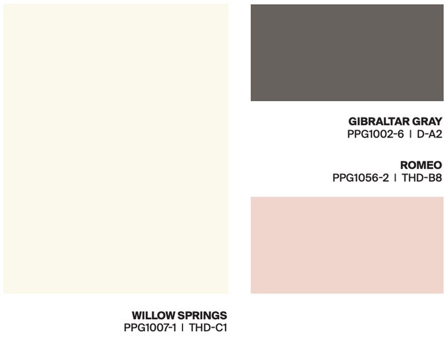 white, pink, gray paint swatches