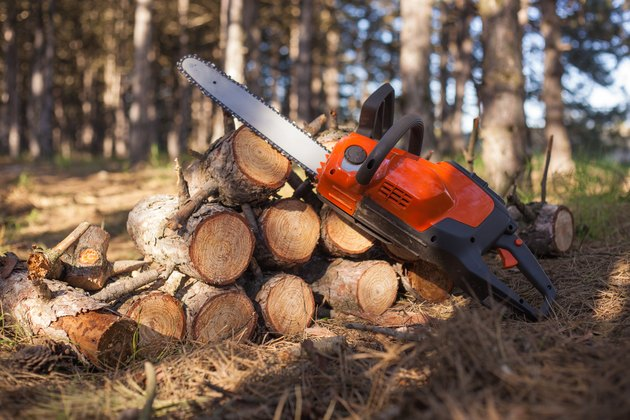Chainsaw lays on wood chocks in the woods