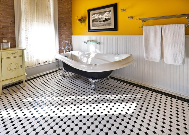 Contemporary Classic Bathroom Design with Claw Foot Tub