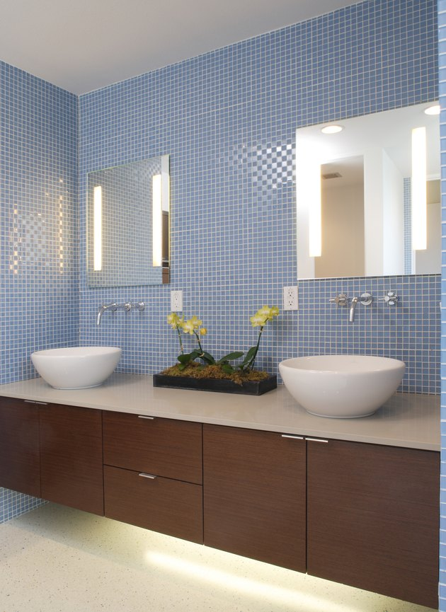 Blue Tile in Contemporary Bathroom with Double Sink Vanity