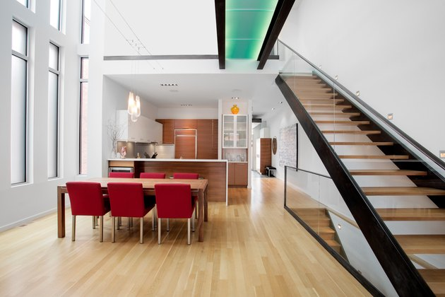 Open plan contemporary living space with staircase.