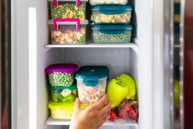 Vegetables in freezer