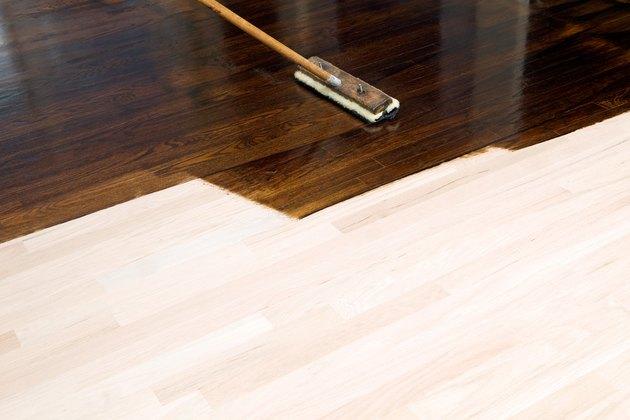 Dark Stain Application on New Oak Hardwood Floor