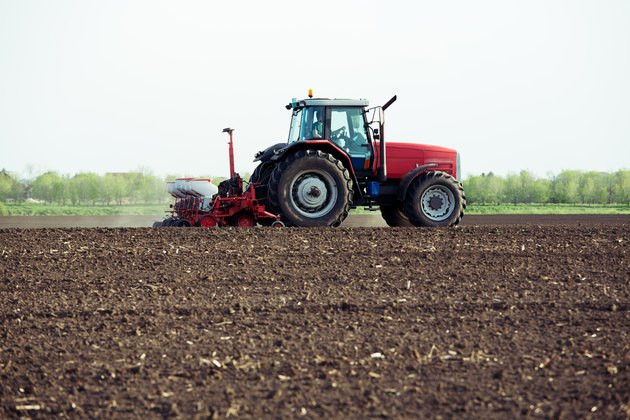 Seeding crops at field