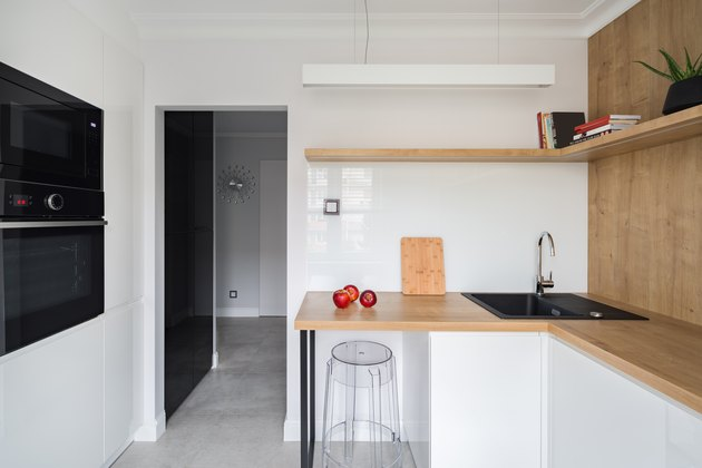Modern kitchen with wooden worktop