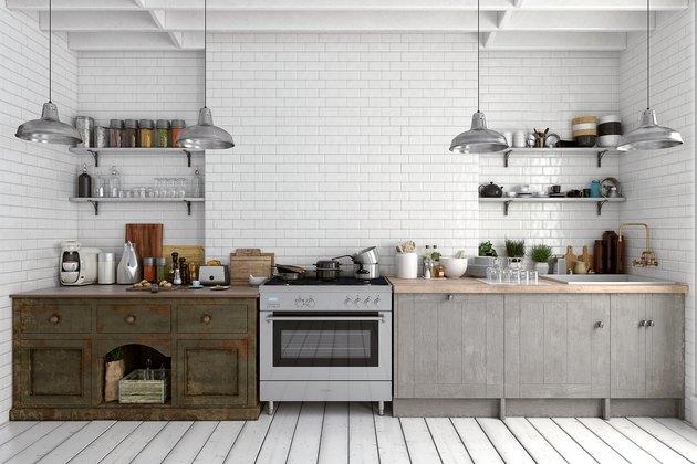 Empty classic kitchen