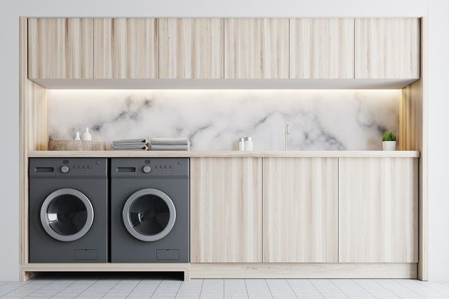 Marble and wooden laundry room