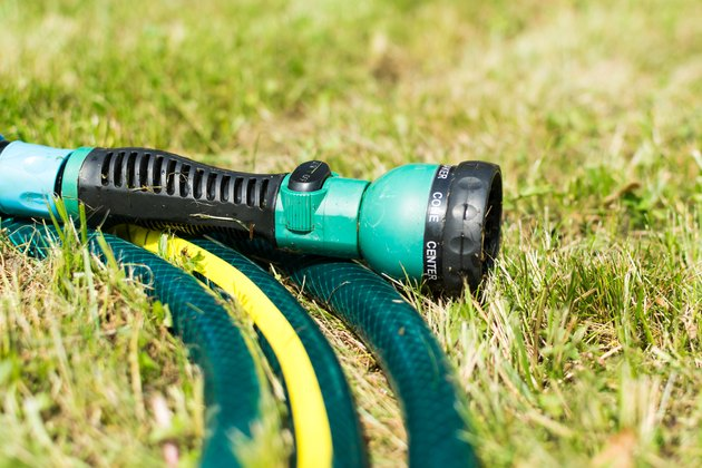 Rings of garden hose and sprayer