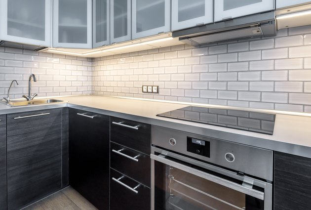 Interior of kitchen with lighting