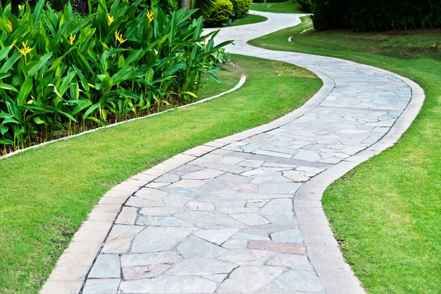 Curved path in the formal garden