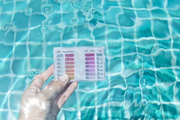 Main de fille tenant un kit de vérification plongeant dans l'eau de la piscine pour tester le chlore et le pH
