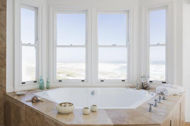 whirlpool tub in bathroom overlooking ocean