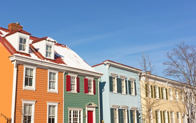 Historic residential houses in Georgetown neighborhood during winter, Washington DC, USA.
