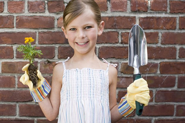 A girl holding a flower and a trowel