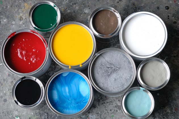 Open paint tins