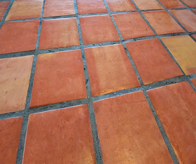 Saltillo Tile Mexican Floor Background, Full Frame. Copy Space
