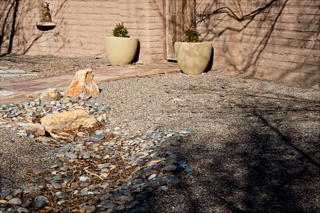 Southwest Xeriscape Entry and Adobe Wall, Full Frame Image