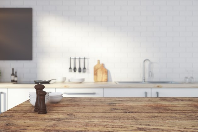 Empty wooden kitchen counter