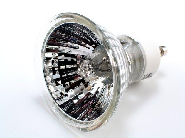 A single halogen spotlight bulb