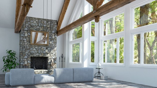 Beautiful fireplace in modern cottage