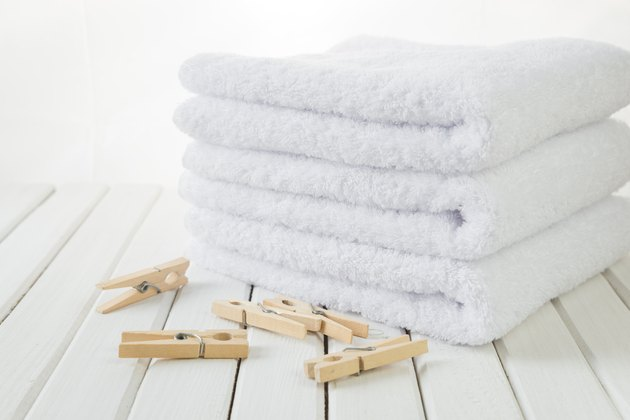 Bath towels and wooden clothespins
