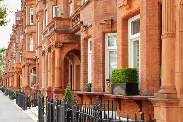 Red bricks houses in London, english architecture