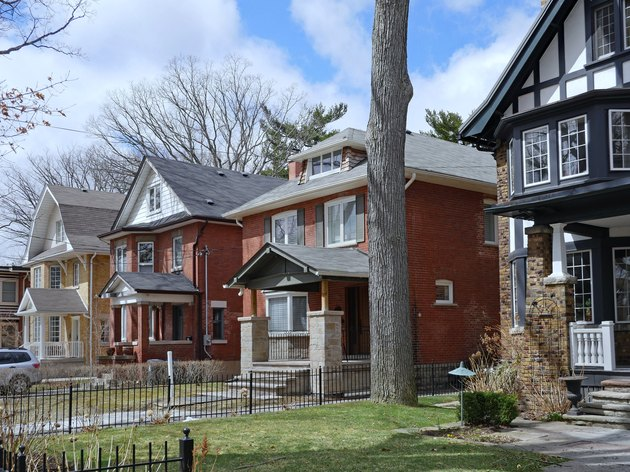 Row of large old  detached brick houses with mature trees in the front yard